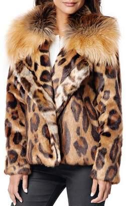 Fabulous Furs Downtown Leopard Faux Fur Coat