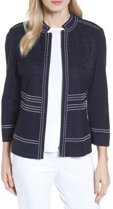 Ming Wang Front Zip Jacquard Jacket