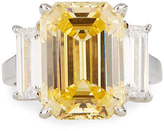 FANTASIA Large Cubic Zirconia Cushion Ring Yellow\/Clear Sizes 6-8