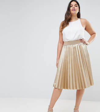 Elvi Premium Metallic Pleated Skirt