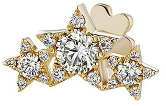 Maria Tash 'Star Garland' diamond yellow gold single threaded stud earring