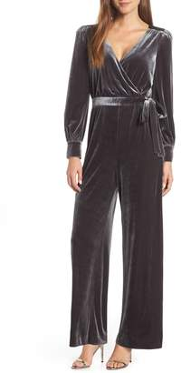 Eliza J Wrap Look Velvet Jumpsuit