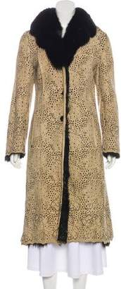 Adrienne Landau Suede & Fur-Trimmed Coat
