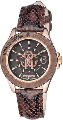 Roberto Cavalli By Franck Muller 37mm Rose Golden Watch w/ Calfskin Leather Strap