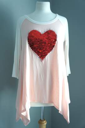 Sweet Claire Sequin-Heart Asymmetric Tee