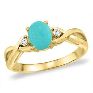 Sabrina Silver 14K Yellow Gold Diamond Natural Turquoise Infinity Engagement Ring Oval 7x5 mm, size 9.5
