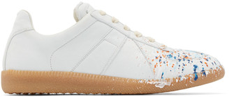 Maison Margiela Off-White Leather Painted Replica Sneakers $695 thestylecure.com