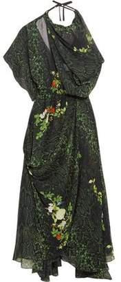 Preen by Thornton Bregazzi Emma One-Shoulder Printed Silk-Georgette Midi Dress