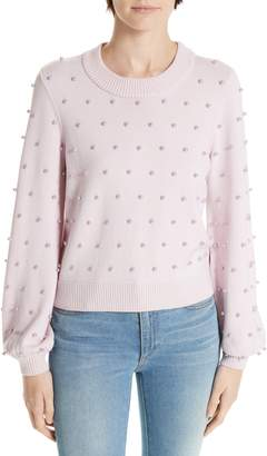 Milly Imitation Pearl Embellished Wool Sweater