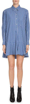 Etoile Isabel Marant Ondria Check-Print Flounce Shirt Dress