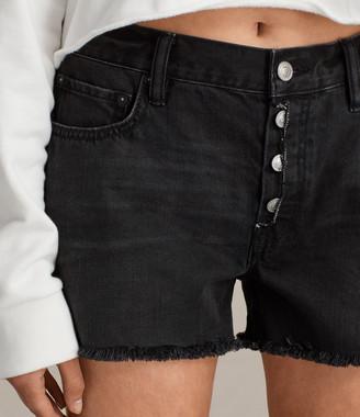 AllSaints Button Boy Denim Low-Rise Shorts