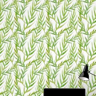 Wallums Wall Decor Leaves 48 L x 24 W Peel and Stick Wallpaper Tile