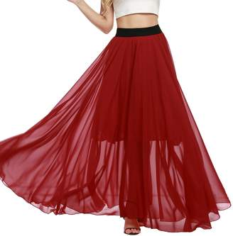 Meaneor Women's Solid Lightweight Floor Length Maxi Skirt (,M)
