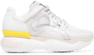 Fendi White, Pink and Yellow Fancy Leather Trainers