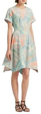 DKNY Printed Crewneck Fit-&-Flare Dress