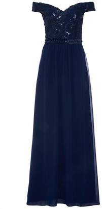 Quiz Navy Chiffon Bardot Embroidered Maxi Dress