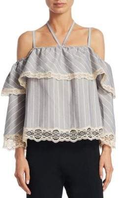 Jonathan Simkhai Women's Striped Off-the-Shoulder Blouse - Grey Combo - Size Large