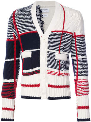 Thom Browne Classic V-neck Cardigan With Large Plaid Intarsia In Cashmere