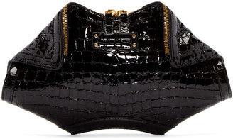 Alexander McQueen Black Croc-Embossed Small De Manta Clutch $865 thestylecure.com