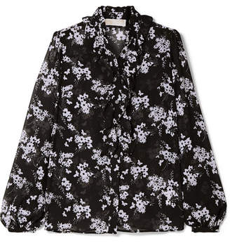 MICHAEL Michael Kors Ruffled Floral-print Chiffon Blouse - Black