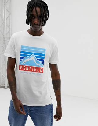 Penfield mountain chest logo print crew neck t-shirt in white