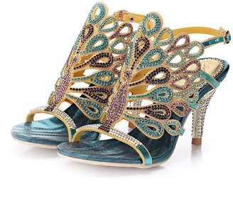 Monie Women's Peacock Shaped Pattern Handmade Wedding Heels Rhinestone Bridal Sandals 6B US