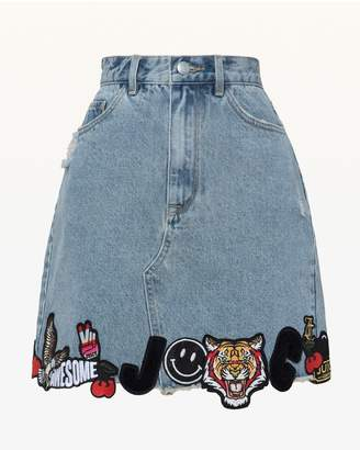 Juicy Couture Patched Denim Miniskirt