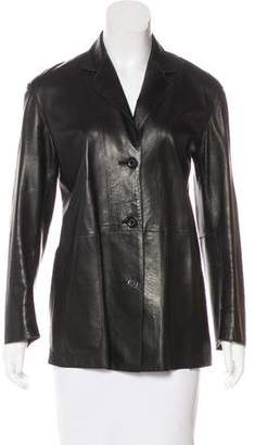 Donna Karan Leather Button-Up Jacket