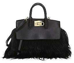 Salvatore Ferragamo Women's Studio Leather & Goat Fur Piccolo Top-Handle Bag
