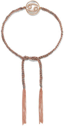 Carolina Bucci Cancer Lucky Zodiac 18-karat Rose Gold, Diamond, Mother-of-pearl And Silk Bracelet