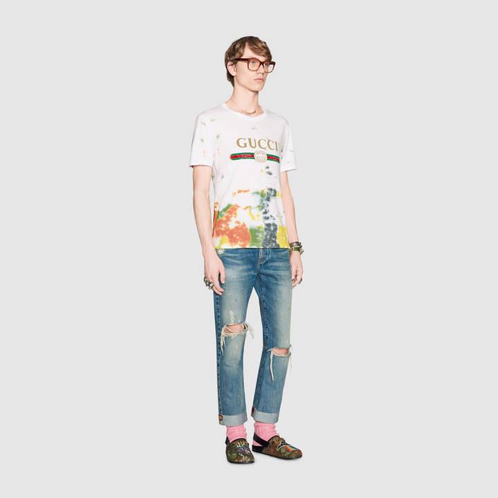 Cotton tie-dye t-shirt with Gucci print 2