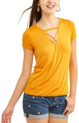 No Boundaries Juniors' Lace-up Surplice Tee with Lace Back
