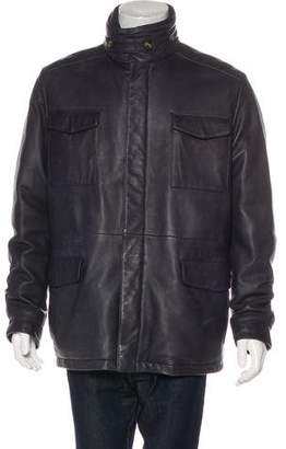 Loro Piana Leather Cashmere-Lined Down Coat