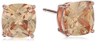 14k Rose Gold Plated Sterling Silver Cushion Cut Cubic Zirconia Stud Earrings