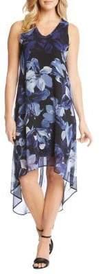 Karen Kane Sleeveless Floral Hi-Lo Midi Dress