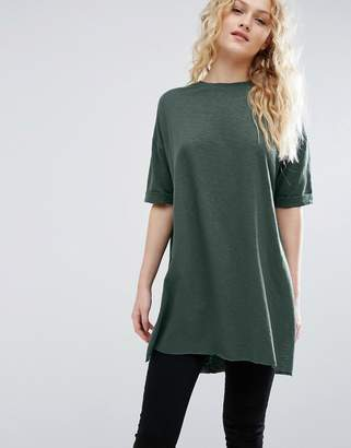 ASOS T-Shirt with Side Split and Longline Oversized Fit in Textured Jersey $28 thestylecure.com