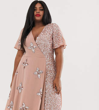 Maya Plus wrap front embellished midi dress with contrast sequin in pink