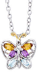 QVC Sterling Silver and 14K Gold 0.45cttw Multi-Gem stone Pendant