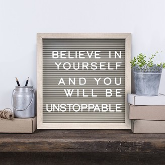 """New View 12"""" x 12"""" Gray Letter Board Wall Decor 190-piece Set"""