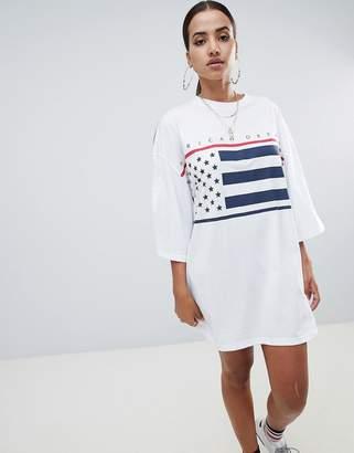Missguided slogan oversized t-shirt dress in white