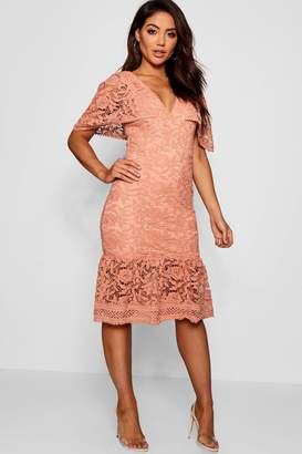 boohoo Lace Cape Sleeve Frill Hem Midi Dress