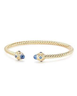 David Yurman 18k Gold Renaissance CableSpira Bangle Bracelet w/ Sapphires, Size L