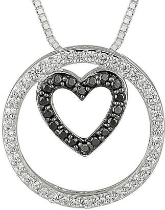 Black Diamond FINE JEWELRY 1/3 CT. T.W. White & Color-Enhanced Sterling Silver Pendant Necklace