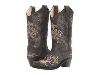 Old West Kids Boots Embroidered Vintage Charcoal Snip Toe (Toddler/Little Kid)