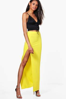 boohoo Thigh Split Crepe Maxi Skirt