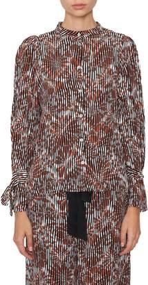 Warm Lady Stripe Silk Blouse