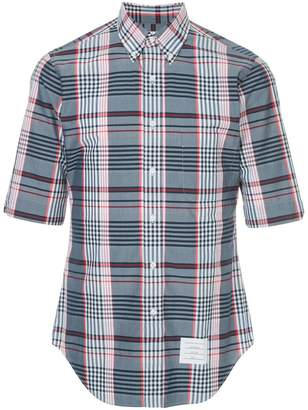 Thom Browne Classic Short Sleeve Point Collar Button Down Shirt In Large Madras Check Poplin