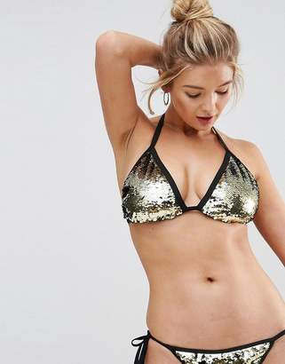 Asos FULLER BUST Mix and Match Two Tone Sequin Embellished Triangle Bikini Top DD-F