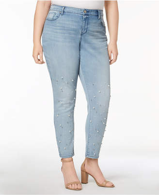 Style&Co. Style & Co Plus Size Pretty Pearl Embellished Skinny Jeans, Created for Macy's