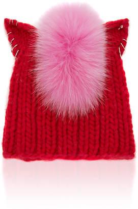 Eugenia Kim Felix Fox Fur-Trimmed Cable-Knit Beanie
